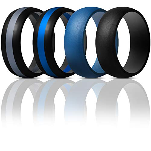 (ThunderFit Mens Silicone Rings Wedding Bands - 4 Pack (Dark Blue, Black Middle Dark Blue, Black Middle Dark Grey, Black, 8.5-9 (18.9mm)))