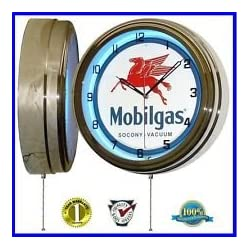 MOBIL GAS MOBILGAS OIL 15 NEON WALL CLOCK ADVERTISING GARAGE SIGN ONE 1