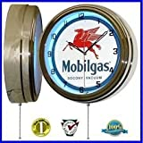 MOBIL GAS MOBILGAS OIL 15'' NEON WALL CLOCK ADVERTISING GARAGE SIGN ONE 1