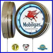 "MOBIL GAS MOBILGAS OIL 15"" NEON WALL CLOCK ADVERTISING GARAGE SIGN ONE 1"