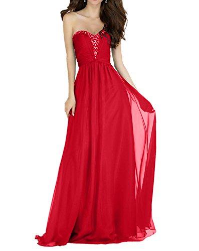 Lang Hell Charmant Perlen Partykleider Rot Rot Festlich Rock Linie Ballkleider Elegant Damen Abendkleider A Chiffon Traegerlos Hvp6q