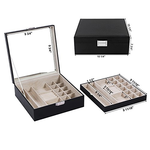 Jewelry-Box-Organizer-40-Section-Display-Tray-Storage-Case-Drawer-2-Layers-Large-Mirror-Girls-Teens-Women-Holder-for-Earring-Ring-Necklace-Bracelet-PU-Leather-Black-SSH01B
