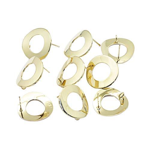 (ARRICRAFT 40pcs Donut Ring Earring Settings 18mm Golden Post Ear Stud Loop Components for Earring Making )