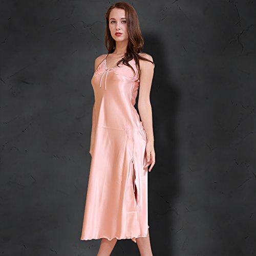 Wanglele Pyjamas Femmes Printemps Et Automne Bretelles Soie Noble Satin Dentelle Robe Princesse Robe Chemise De Nuit Grande Taille, M, Un Rouge