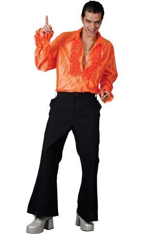 Pimp Costumes For Kids - Disco Ruffle Shirt - Orange (M) Fancy