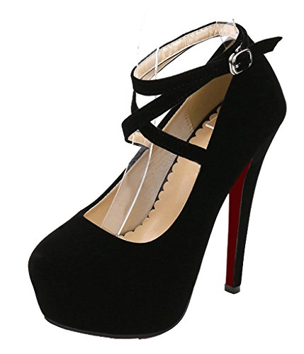SFCSFLY Women's Pointed Toe Sexy Ankle Strap Stiletto High Heel Pump Shoes Black Velveteen Size US6 EUR 36