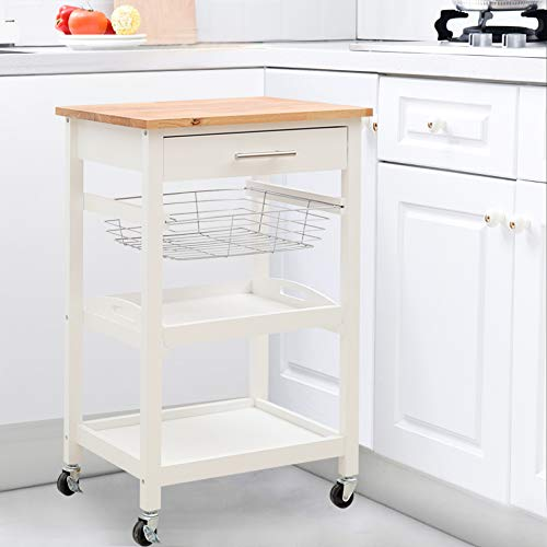 2 Tiers Shelves Qivange Kitchen Trolley Cart With Wine Rack Wire Baskets and One Drawers 4 Wheels Handle W58 x D40 x H86.5cm White+Beech