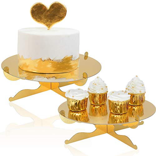 1-Tier Gold Round Cardboard Cupcake Stand Dessert Stand Reusable Birthday Wedding Festival Decoration Mini Cake Stand(2pcs) -