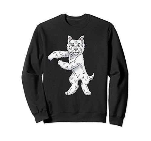 (Unisex West Highland White Terrier Floss Dance Westie Sweatshirt Small Black)