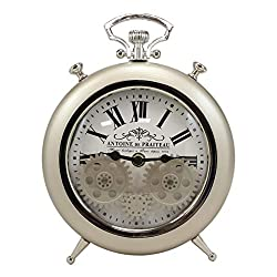 Ebros Antoine De Praiteau Steampunk Mechanical Moving Gears Old Fashioned European Vintage Pocket Watch Style Table Clock Victorian Industrial Accent Clockwork Clocks (Brushed Silver Champagne)