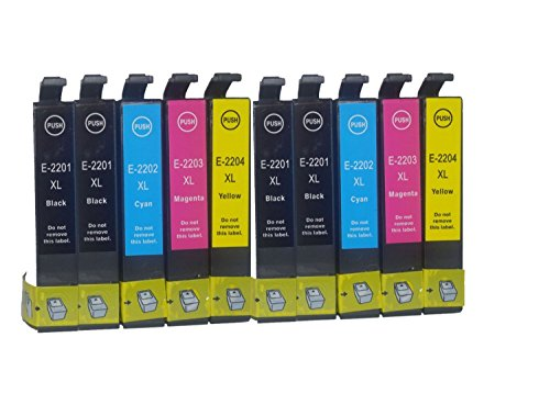 Tyjtyrjty Compatible Ink Cartridges 10 Pk Epson T220xl T220 220 for Epson Workforce Wf 2630 Wf 2650 Wf 2660 Printers