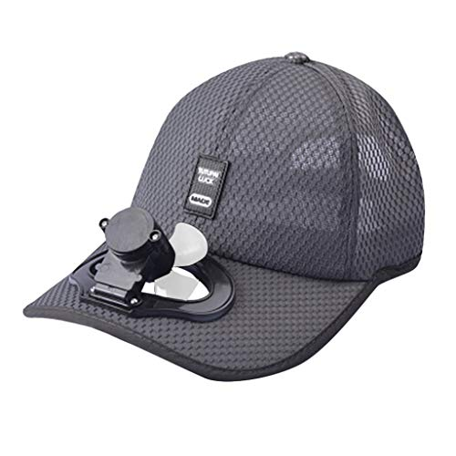 Dergo ☀ Sunscreen Hat Summer Fan Cooling Baseball Cap Hat USB Charging Breathable Shade Sunscreen Hat (C)