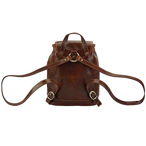 Pelle Leather Zainetto Marrone Market 6559 Lucida Borsa Pratico Borse E Luminosa A Di Unisex Florence Vitello In RwCvqdav