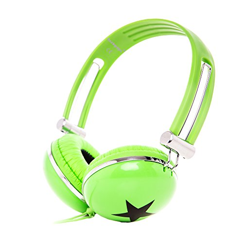 Rockpapa Star On Ear Headphones Foldable, Adjustable Headband for Kids Childrens Boys Girls Adults, iPhone iPod iPad Smartphones Tablets Computer DVD Green