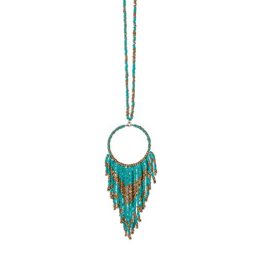 Occasionally Made O-JB-NBF-TQ Seed Bead Fringe Necklace Turquoise