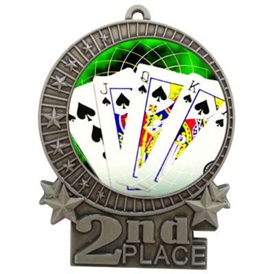 エクスプレスメダル 3インチ ポーカーカード セカンドプレイスメダル シルバー 赤と白と青のネックリボン付き 賞トロフィーXMD B07G6Y4RYR