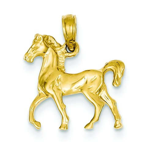 14K Yellow Gold Horse Charm Equestrian Pendant Jewelry! ()