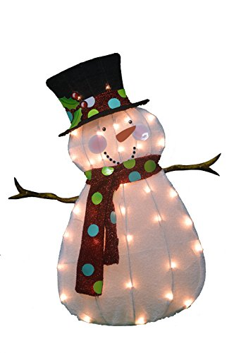 Christmas Yard Decorations - ProductWorks 32-Inch Pre-Lit Victoria Hutto Snowman Christmas Yard Decoration, 35 Lights