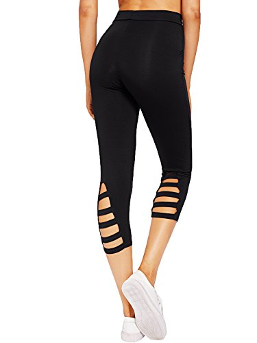 9ba1c3f10efc45 SweatyRocks Women's High Waisted Cutout Crop Leggings Yoga Workout Active  Tights (Large, Black#
