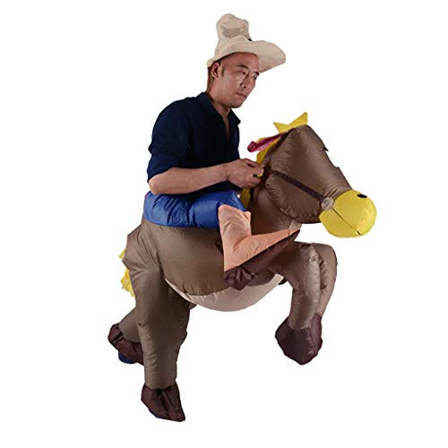 Prettyia Unisex Inflatable Costume Donkey Rider Blowup Outfit Party Costume Fancy Dress Fat Clothes One Size
