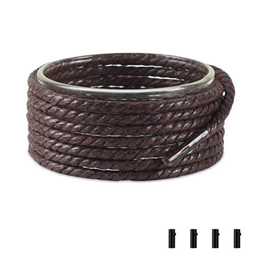 Braided Waxed - Shoemate Waxed Braided Round Shoelaces for Oxfords and Dress Shoes Men & Women with 4 Shoestring Aglets, Tan, 60