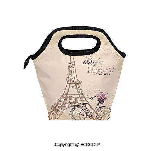 Insulation portable lunch box bag Bonjour Paris Eiffel Tower and Vintage Bicycle with Flowers Retro Soft Color Print Soft Fabric lunch bag Mummy bag.