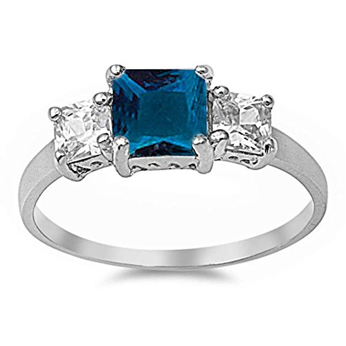 3 Stone Wedding Engagement Ring Princess Cut Square Simulated Blue Sapphire CZ 925 Sterling Silver