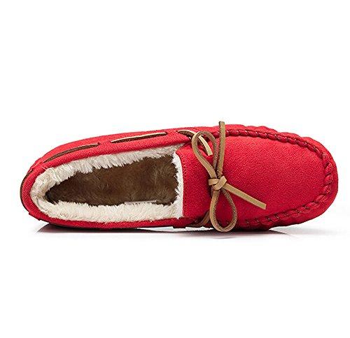 Kamel Kvinners Moccasin Hoper Foret Tøffel Kjøring Moccasin Tilfeldige Loafers Båt Sko Røde