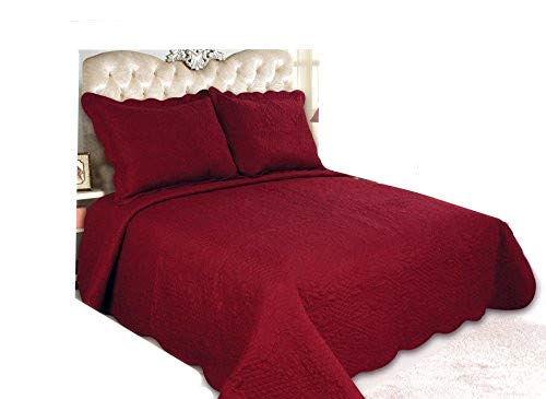 ALL FOR YOU 3-Piece Reversible Bedspread/Coverlet / Quilt Set with Embroideries (Burgundy, Larger King)