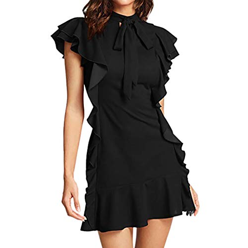 TWGONE Ruffle Dresses For Women Clubwear Tie Neck Short Sleeve Cocktail Party Dress(Small,Black) (Patient Tie Gown)
