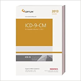 ICD 9 CM Standard for Hospitals, Volumes 1, 2 & 3 2013 Edition by Ingenix. (Optum,2012) [Perfect]