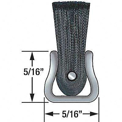 Tanis Brush MB700024 Metal Back Strip Brush with Light Duty 5//16 Galvanized Steel Backing 0.010 Bristle Diameter Black Nylon Bristles 2 Overall Length 1 Trim Length