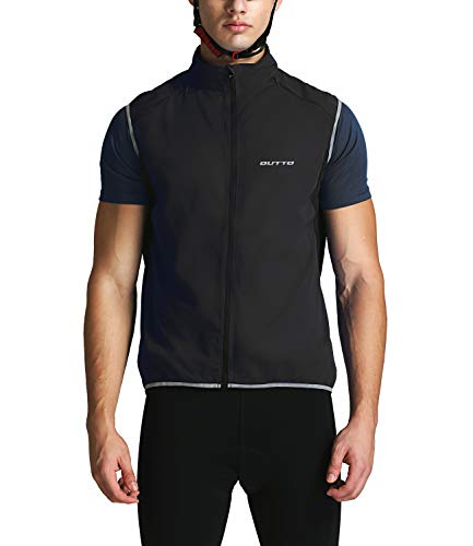 Outto Men' Reflective Running Cycling Vest for Safty and Windproof(Small,17B4 Black)