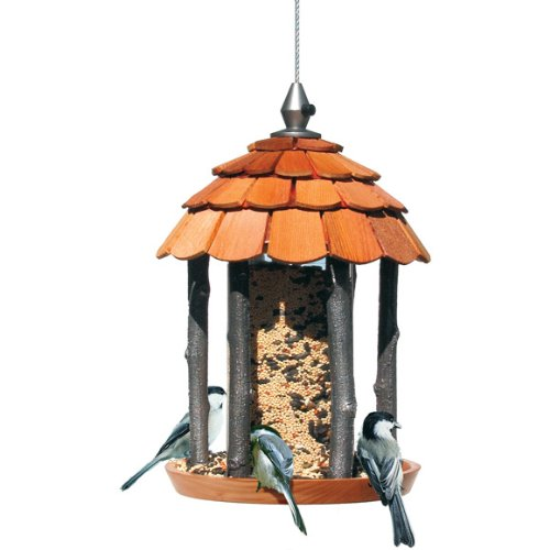 Perky-Pet Wood Gazebo Feeder 50129, 2 lb capacity (Bird Unfinished Wood)