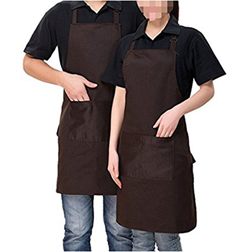 Coffee Apron - 2 Pack Adjustable Bib Apron Waterdrop Resistant with 2 Pockets Cooking Kitchen Aprons for Women Men Chef, Coffee Shop/Kitchen/Bar/Bakery/Hotel Durable Apron (Dark brown)