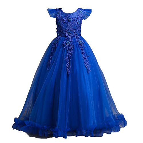 Wedding Tulle Lace Long Girl Dress Elegant Princess
