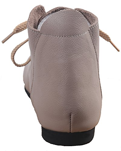 WGWJM - Zapatos de cordones de Charol para mujer gris
