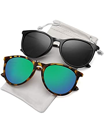 3b752a4986d WOWSUN Polarized Sunglasses Women Vintage Retro Round Mirrored Lens Black  Purple Pink