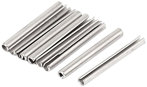 Sourcingmap a15081000ux0350 M2.5 x 25 mm 304 Stainless Steel Split Spring Roll Dowel Pins - Silver Tone (10-Piece)