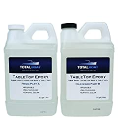 Table Top is a pourable 2 part epoxy system for crystal clear protective finishes on bar tops, table tops, countertops, counters, wood, concrete and other surfaces. It's simple 1 to 1 mix ratio, self leveling nature and room temperature cure ...