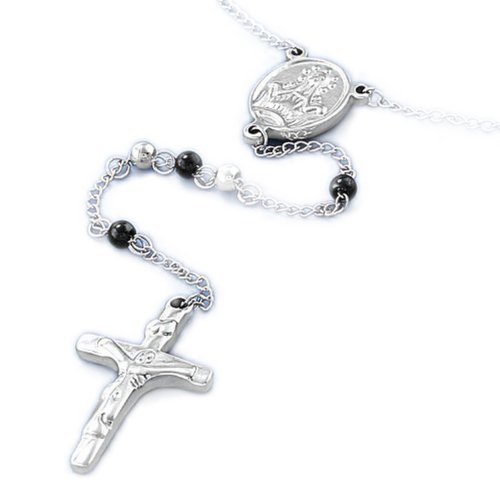 FN-5607 316L Stainless Steel Necklace w/ Cross Pendant - Rosary Design w/ 4mm (Cross 5607)