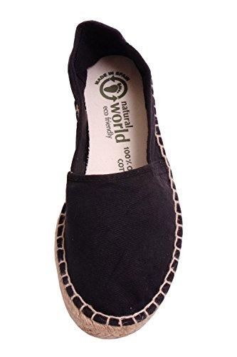 Black Cotton Eco World Sole Espadrille On Slip Natural Friendly Womens wSaxO