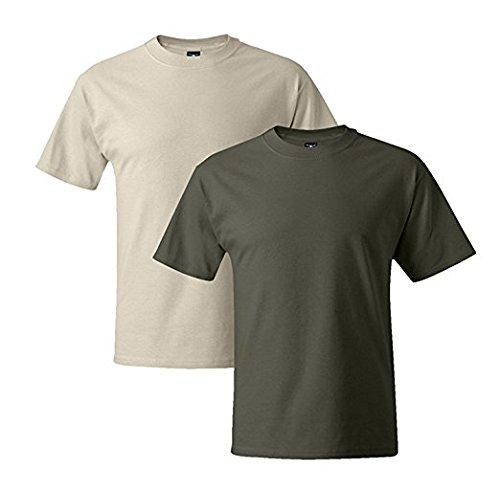 Hanes Mens 5180 Short Sleeve Beefy T, 1 Fatigue Green/1 Natural 2XL