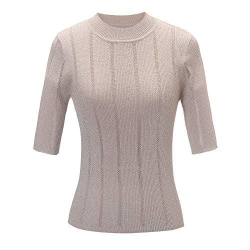 Women's Short Sleeve Crewneck Party Knit Sweater Tops for Teens Juniors (Small, Golden)