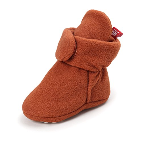 Brown Striped Fleece (QGAKAGO Baby Girls Or Boys Fleece Booties - Cotton Lining and Soft Sole Prewalker Pull-On Shoes (L: 5.12 inch(12~18 Months), Light Brown))