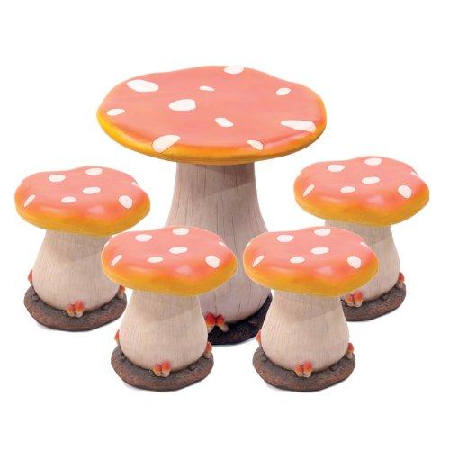 magic mushroom table 4 stool set amazon co uk garden outdoors
