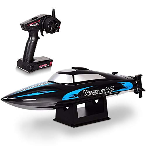 Costzon Vector30 2.4G RC High Speed Racing Boat, Self-righting Auto Roll Back, Reverse Function, Brushed Motor, RTR (Black) (Rtr High Speed Racing Boat)