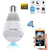 1080P WiFi Secuity Bulb Camera,HD Wireless IP Camera Night Vision VR Panoramic,Motion Detection with Two-way Audio for Android IOS APP 360 Degree Fisheye Home Surveillance System Remote View