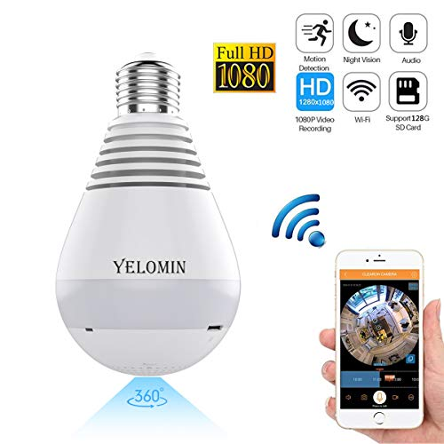 1080P WiFi Secuity Bulb Camera,HD Wireless IP Camera Night Vision VR Panoramic,Motion Detection with Two-way Audio for Android IOS APP 360 Degree Fisheye Home Surveillance System Remote View (white) by Yelomin