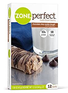 ZonePerfect Nutrition Snack Bars, High Protein Energy Bars, Chocolate Chip Cookie Dough, 1.76 Ounce Bar, 12 Count